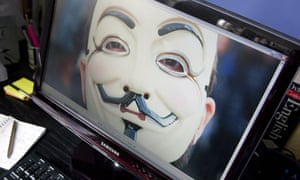 Anonymous mask on laptop