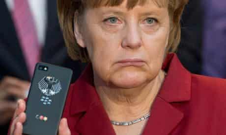 Angela Merkel with phone