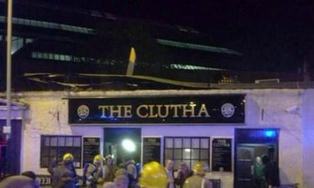 Helicopter crash on the Clutha pub in Glasgow