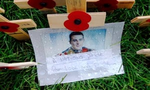 A photograph of Lee Rigby in the Field of Remembrance at Westminster Abbey in London