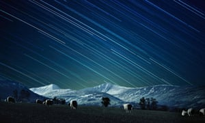 Long exposure image of Brecon Beacons at night.
