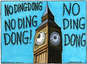 16.04.13: Steve Bell on the silencing of Big Ben for Thatcher's funeral