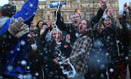Revellers celebrate death of Margaret Thatcher