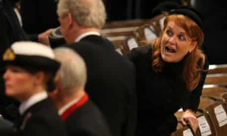 Sarah Ferguson at funeral of Margaret Thatcher