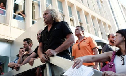 Employees of Greek state broadcaster ERT protest