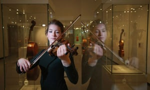 Violinist Cecelia Stinton plays a beechback Stradivarius violin