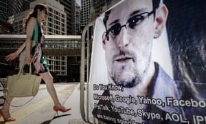 Edward Snowden on a banner in Hong Kong