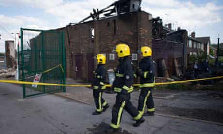 Fire-damaged community centre near Muswell Hill in north London