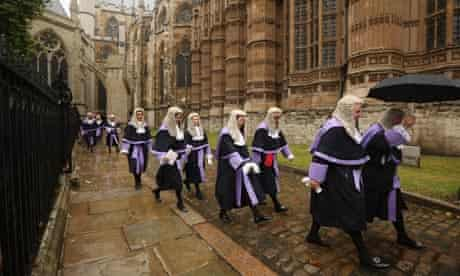 Judges walk from Westminster Abbey to the Houses of Parliament
