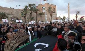 Libyans protest in Martyrs Square, Tripoli