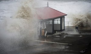 Aberystwyth wind shelter hit by waves