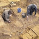 Archeologists work at the site of an early East Saxon king's burial site at Southend, Essex