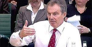 Tony Blair faces the Commons liaison committee. Photograph: PA