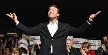 John Edwards gestures to supporters in Iowa