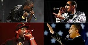 Kayne West, Jay-Z, 50 Cent and Obama