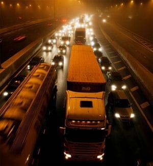 traffic in fog on M25 motorway