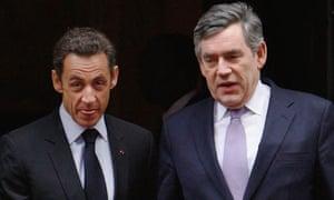 Nicolas Sarkozy and Gordon Brown leave Downing Street this morning.