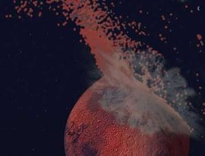 Mars: artist's impression of asteroid impact