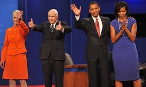 Barack and Michelle Obama with John and Cindy McCain