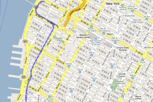 A map of the route of the High Line overhead railway in New York. Photograph: Google Maps