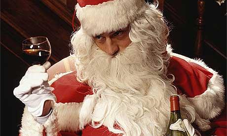 Image result for santa drinking wine