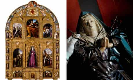 altarpiece of the Virgin of Sorrows, Mexico, c1690 and Virgin of Sorrows, Brazil c1791