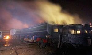 Nato fuel convoy attacked in Pakistan, 2010
