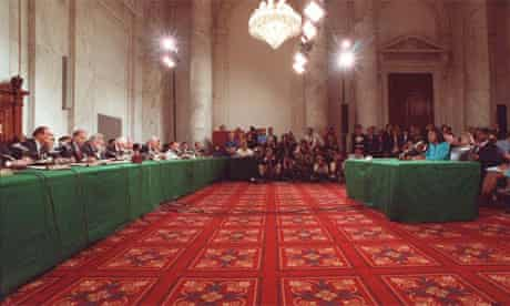 Anita Hill testifying before a senate committee regarding Clarence Thomas's supreme court nomination