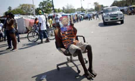 Supporter of ousted Haitian President Aristide, 2010