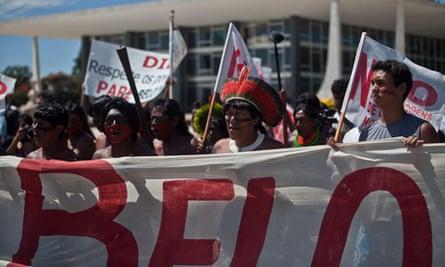 Indigenous peoples protest at Belo Monte dam, in Brasilia, Brazil