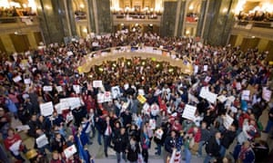 Protest in Madison, Wisconsin, 2011; Governor Scott Walker; collective bargaining rights