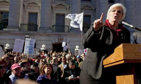 Protest Madison Wisconsin Governor Scott Walker unions