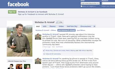 Screengrab of New York Times columnist Nicholas Kristof's Facebook page