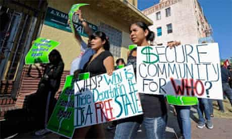 Immigrant rights campaigners in Los Angeles, California