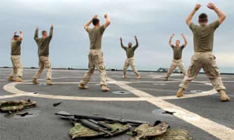 US marines training on board an aircraft carrier