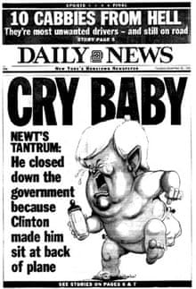 New York Daily News 'Cry Baby' Newt Gingrich front page, 1995