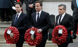 The three party leaders at the Cenotaph