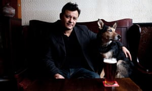 James Dean Bradfield in his favourite Cardiff pub, the Vulcan, with pub dog Scooby