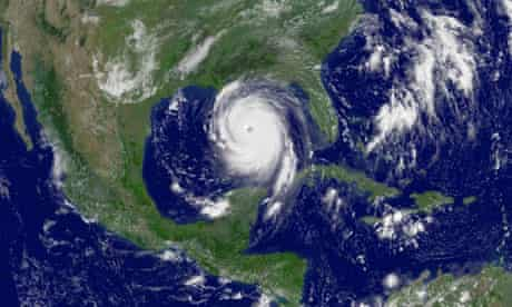 National Oceanic and Atmospheric Administration satellite image of Hurricane Katrina taken at 11:45 a.m., EDT, on August. 28, 2005, as the well-formed eye of the extremely dangerous hurricane can clearly be seen from space