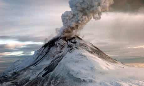 The eruption of Augustine Volcano in Alaska