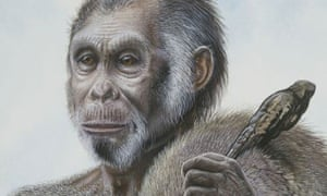 "The painting is of a male Homo floresiensis, the ""hobbit"", discovered on Flores, indonesia. returning from a hunt."