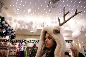 Selfridges Christmas shop: Reindeer-clad visitor to Selfridges