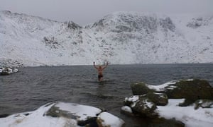 Cold-water swimming in Red Tarn, in the Lake District