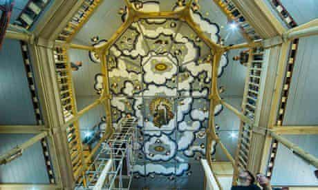 Work nears completion on the ceiling of the Sam Wanamaker Playhouse in London, which opens with The