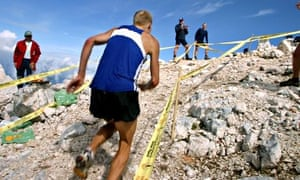 Up and at 'em … the final metres of a skyrace in Slovenia.