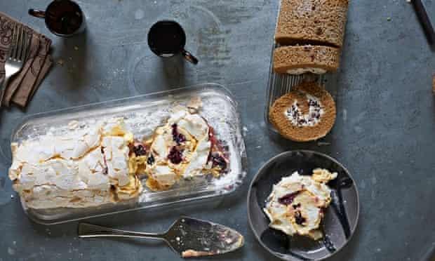 Coffee ricotta stracciatella cake and blackberry passion fruit meringue roulade