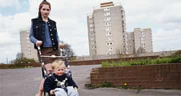 Teenage mother and child / buggy / poverty / housing estate