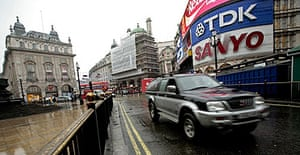 A 4x4 vehicle in Piccadilly circus