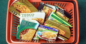 A shopping basket of vegetarian ready meals from various supermarkets