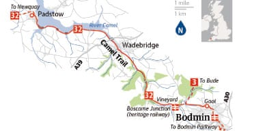Cycling map: Bodmin to Padstow